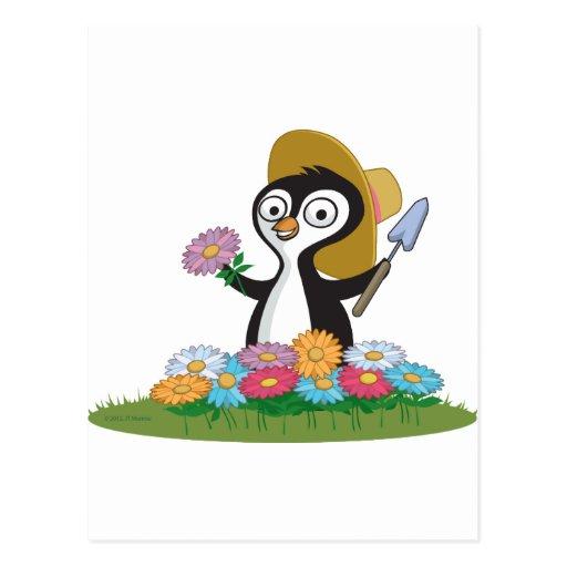 Penguin Flower Gardener Postcard