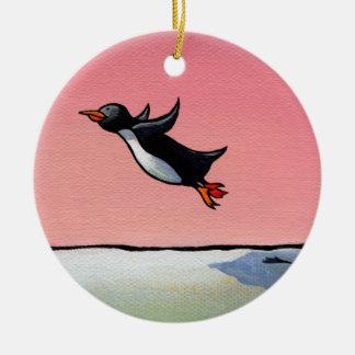Penguin flying fun whimsical art Eternal Optimist Christmas Tree Ornaments