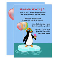 Penguin Fun Birthday Party Invitation