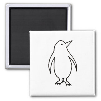 Penguin - fun simple fresh ink line drawing art 2 inch square magnet