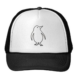 Penguin - fun simple fresh ink line drawing art mesh hat