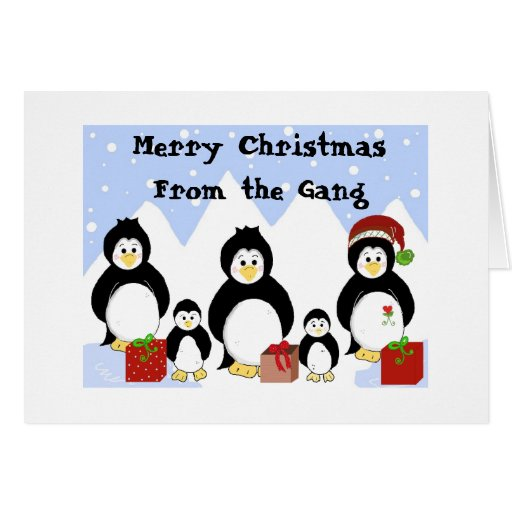 Penguin gang christmas greetings greeting card zazzle for Penguin christmas cards homemade
