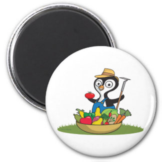 Penguin Gardener 2 Inch Round Magnet