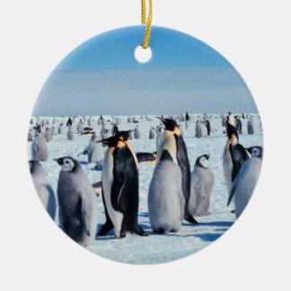 Penguin Gathering Ceramic Ornament