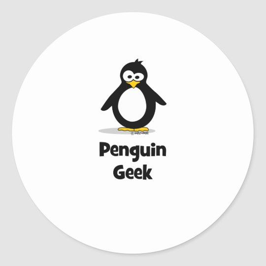 Penguin Geek Classic Round Sticker