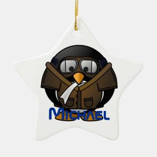 Penguin Gifts Pilot Ceramic Ornament