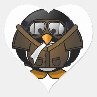 Penguin Gifts Pilot Heart Sticker