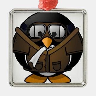 Penguin Gifts Pilot Metal Ornament