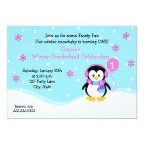 Penguin Girl Birthday Invitation