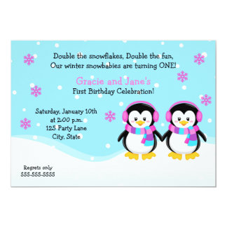 Penguin Girl Twins Birthday Invitation
