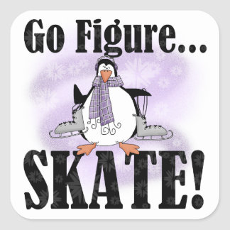 Penguin Go Figure Skate T-shirts and Gifts Square Sticker