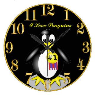 Penguin Gold Clock
