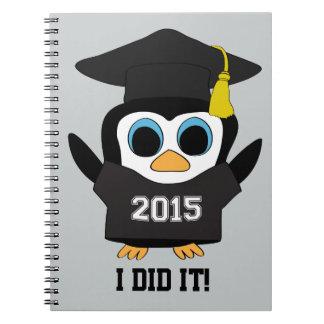 Penguin Grad Wearing Black & White 2015 Tee Notebook