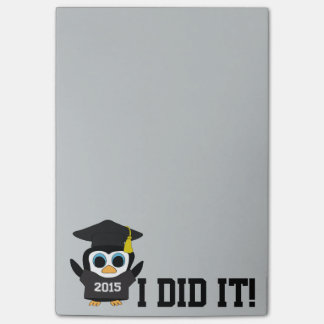 Penguin Grad Wearing Black & White 2015 Tee Post-it Notes