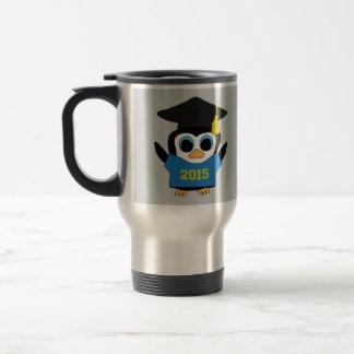 Penguin Grad Wearing Blue & Gold 2015 Tee Travel Mug