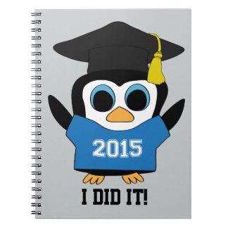 Penguin Grad Wearing Blue & White 2015 Tee Notebook