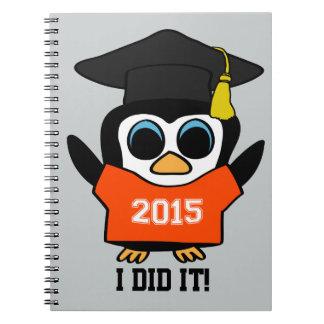 Penguin Grad Wearing Orange & White 2015 Tee Notebook
