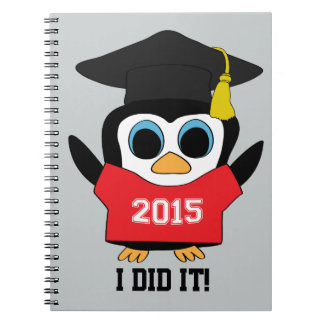 Penguin Grad Wearing Red & White 2015 Tee Notebook