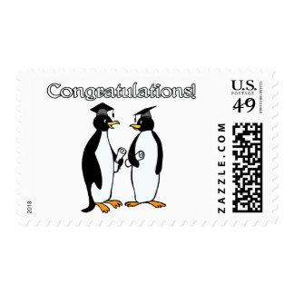 Penguin Graduates Postage Stamp