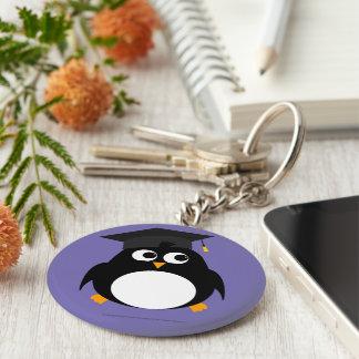 Penguin Graduation Design - Round Keyring Keychain