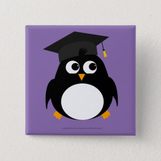 Penguin Graduation Design - Square Badge Pinback Button