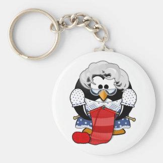 Penguin grandma knitting animation illustration key chain