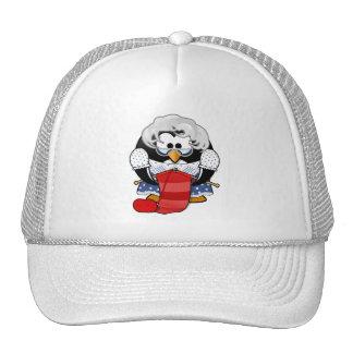 Penguin grandma knitting animation illustration trucker hat