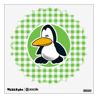 Penguin; Green Gingham Wall Sticker