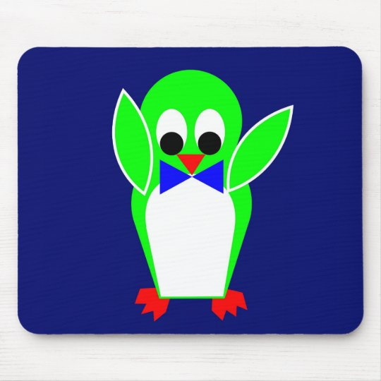 Penguin - Green Mouse Pad