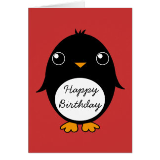 penguin greeting card :  Happy Birthday