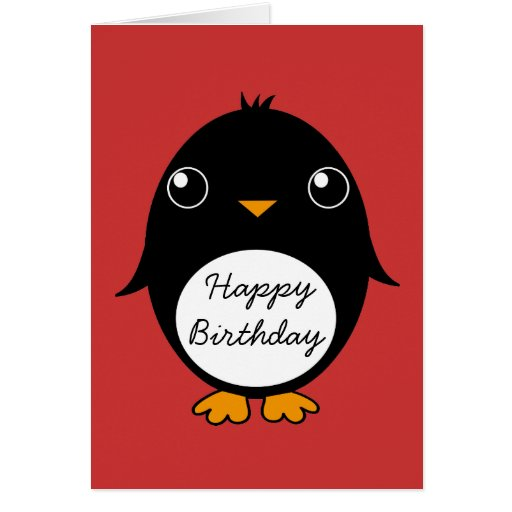 penguin greeting card :  Happy Birthday