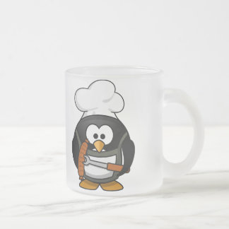 Penguin Grill Frosted Glass Coffee Mug