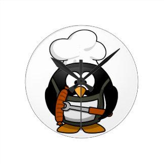 Penguin Grill Round Clock