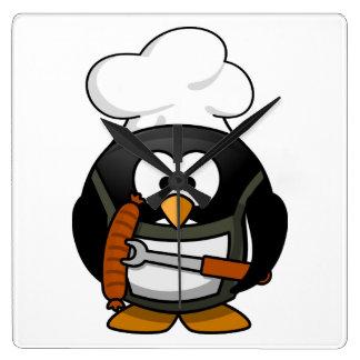 Penguin Grill Square Wall Clock