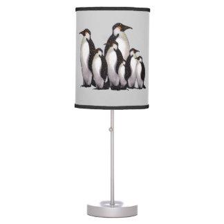 Penguin Group in Snow: Original Art Table Lamp