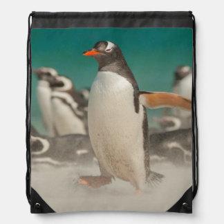 Penguin group on beach, Falklands Drawstring Bag