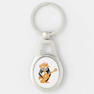 Penguin guitarist Silver-Colored oval metal keychain