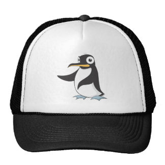 Penguin Hands Up Pointing Left Right Showing Trucker Hat