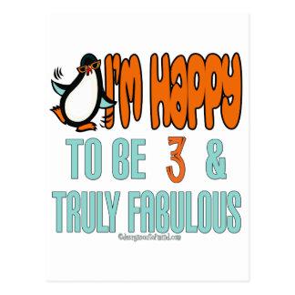 Penguin Happy at 3 Postcard