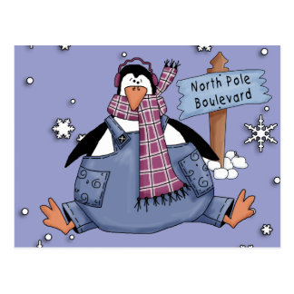 Penguin Happy Holidays Postcard