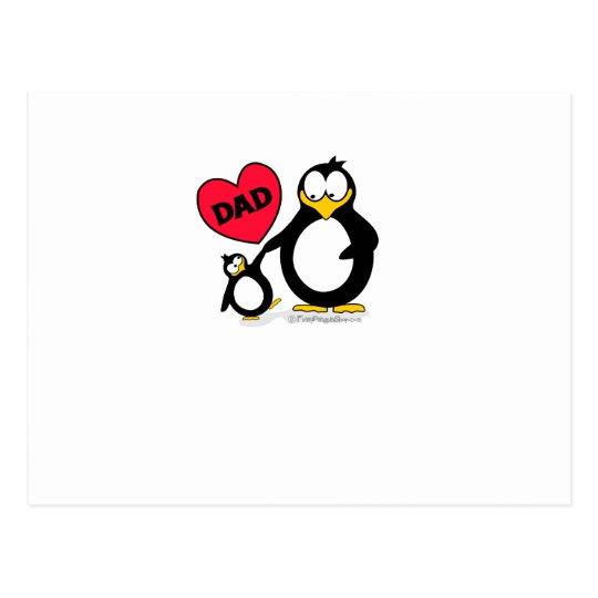 Penguin Heart Dad Postcard