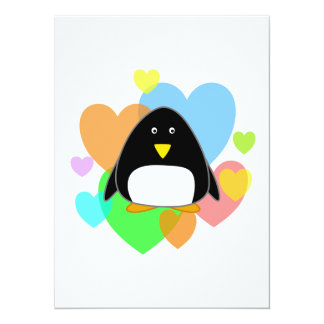Penguin Hearts Personalized Invitations