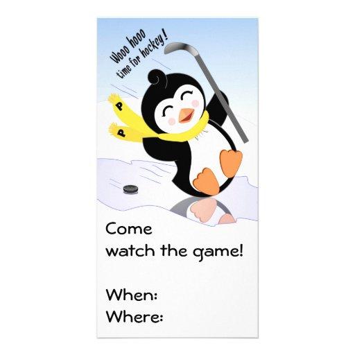 Penguin Hockey Invitation Photo Cards
