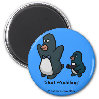 Penguin Hold Up! 2 Inch Round Magnet