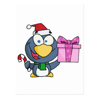 Penguin Holding A Present And Candy Cane Postcard