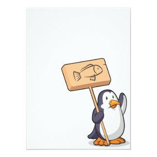 Penguin Holding a Wooden Sign Custom Invitations