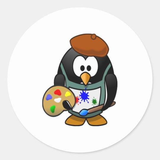 Penguin Holding an Art Palette Classic Round Sticker