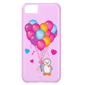 Penguin Holding Balloons in the Shape of a Heart Cover For iPhone 5C
