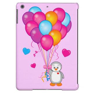 Penguin Holding Balloons in the Shape of a Heart iPad Air Covers