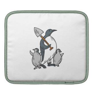 Penguin Holding Shovel With Chicks Drawing iPad Sleeve
